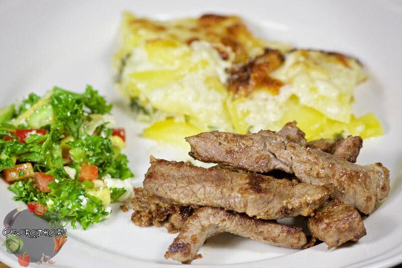 жареная говядина в горчице с яйцами