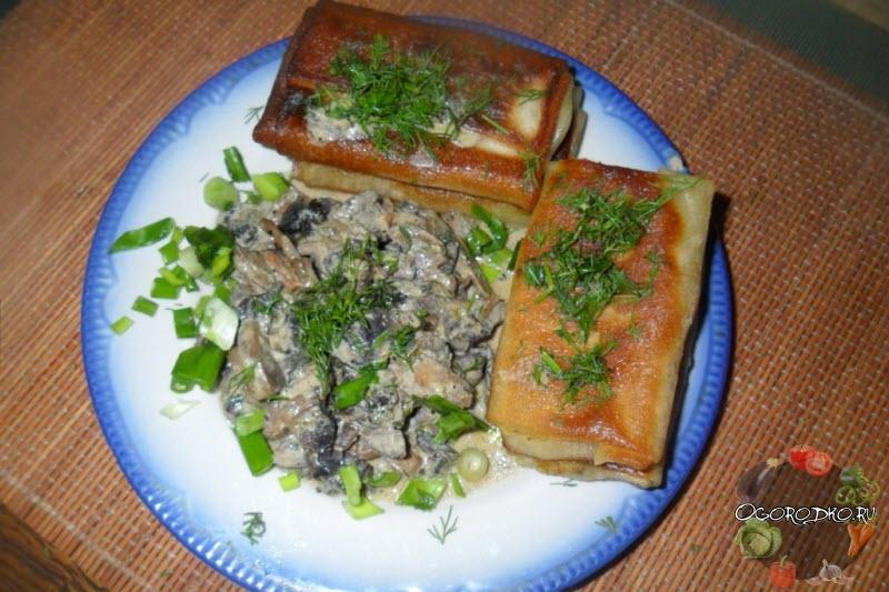 Блины с картошкой и грибами