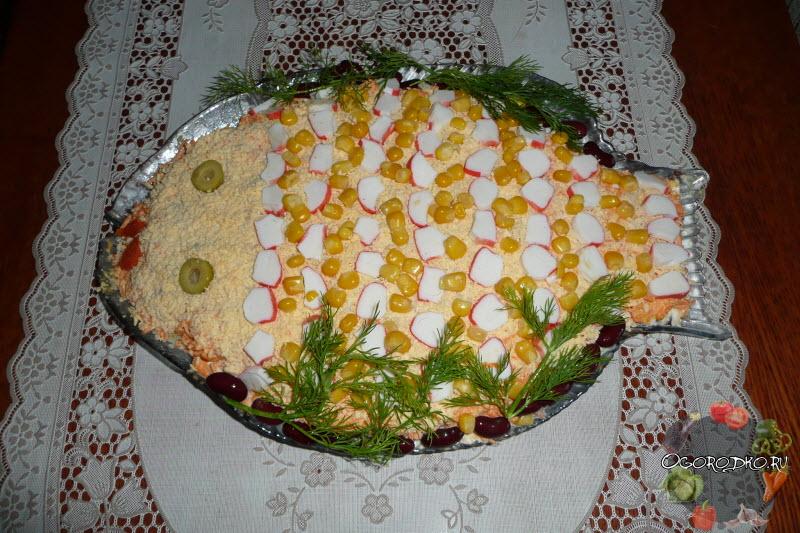 оформление крабового салата