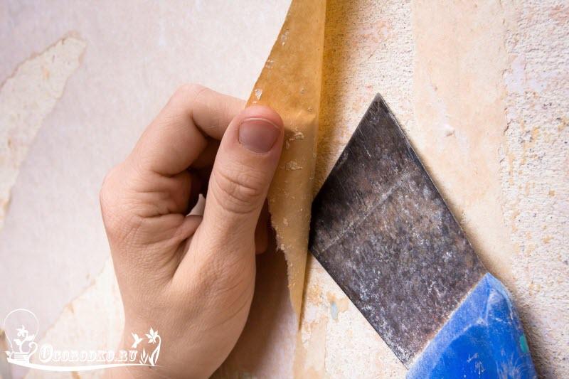 подготовка стен под покраску, снятие обоев