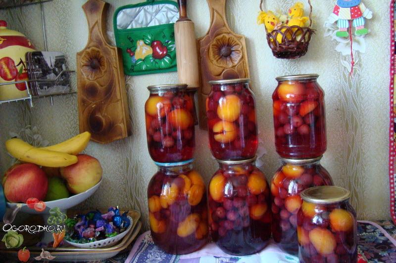 Компот из вишни с абрикосом, простой рецепт